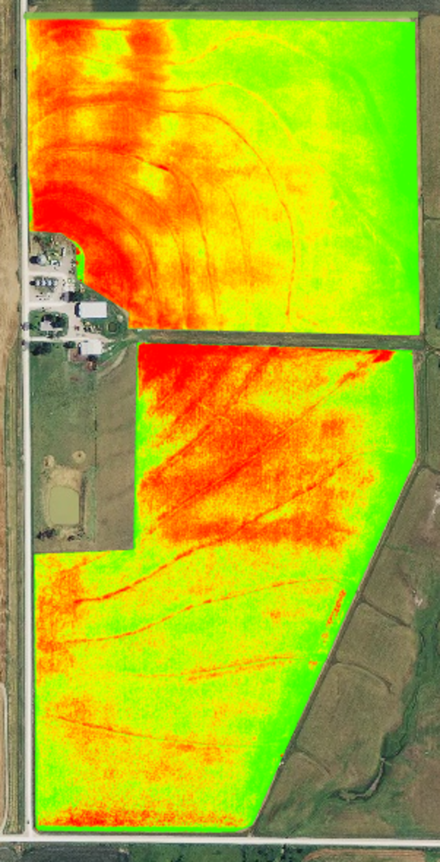 NDVI orthomosaic map of farm fields.