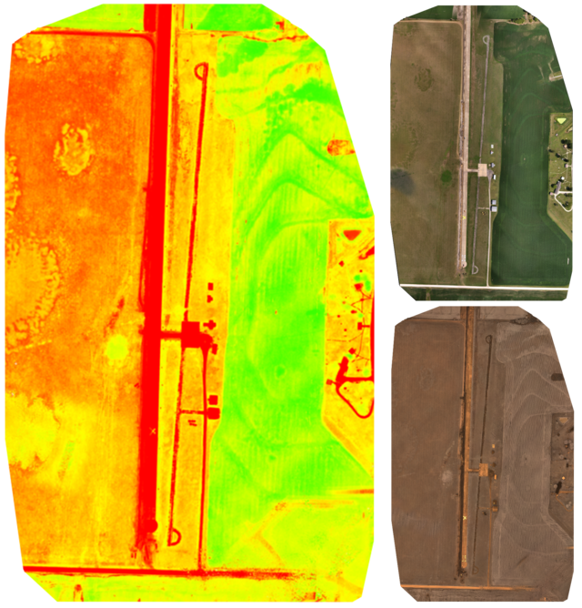 NDVI map of an airstrip made from RGB and NIR imagery.